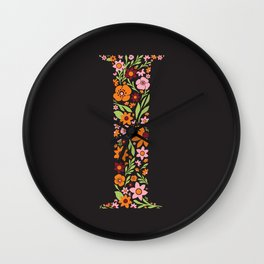 Retro Floral Letter I Wall Clock