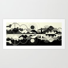 Black and White Land Art Print