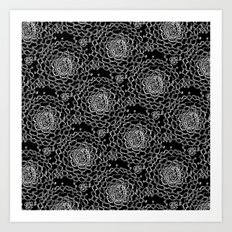 A Crowd of Mums (black | white) Art Print