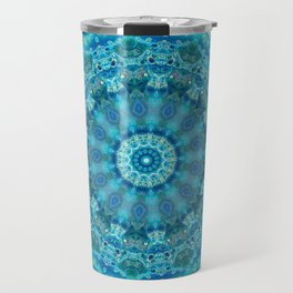 Big Blue Swirl - Abstract Kaleidoscope Art Travel Mug