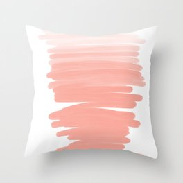 Modern abstract pink coral ombre brushstrokes pattern Throw Pillow