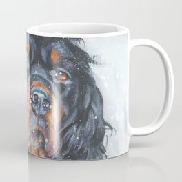 Gordon Setter dog art in snow from an original painting by L.A.Shepard Coffee Mug
