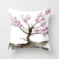 sakura Throw Pillows featuring Sakura by Brazen Edwards