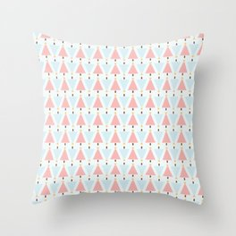 Christmas Tree Patterns with soft Aqua Background Throw Pillow