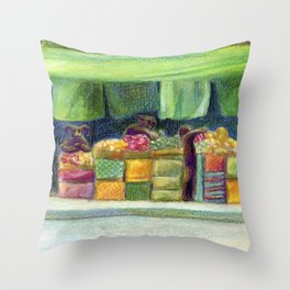 The Fishstronaut Goes to Market Throw Pillow