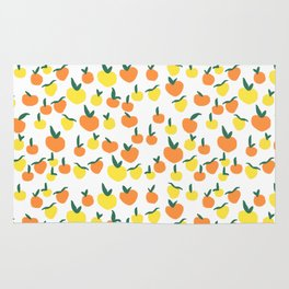 Handdrawn Lemons and Oranges Pattern Rug