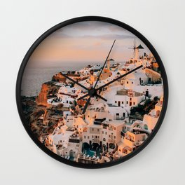 Set on You | Santorini, Greece Wall Clock