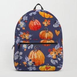 Happy halloween pumpkins and flowers Backpack