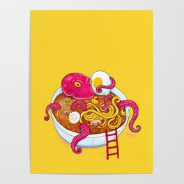 Bowl of ramen with octopus taking a bath Poster