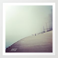 Lake Shore Path in Fog Art Print