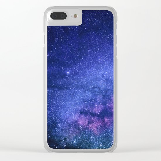 Galaxy, Blue Purple Night Sky, Universe Clear iPhone Case