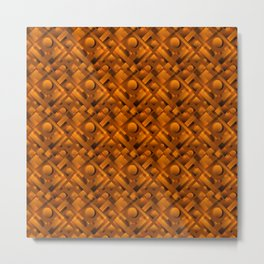 Volumetric design with interlaced circles and bronze rectangles of stripes. Metal Print