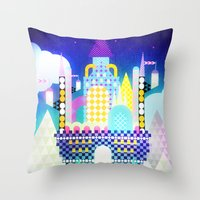 castle in the sky Throw Pillows featuring Castle in the Sky by Alexander Pohl