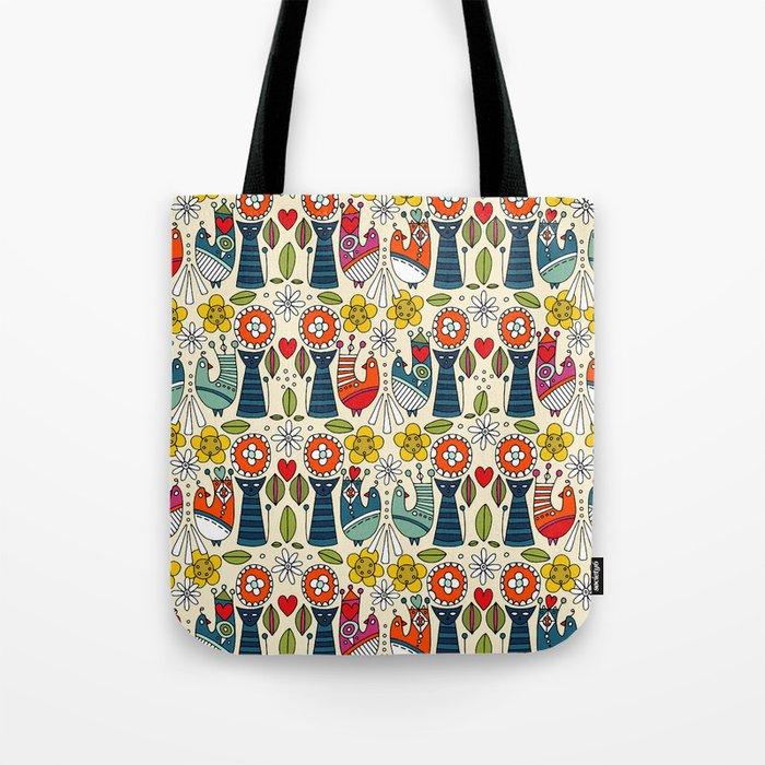 12ba6ce7e Swedish folksy cats and birds Tote Bag by sharonturner   Society6