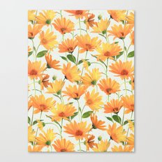 Painted Radiant Orange Daisies on off-white Canvas Print