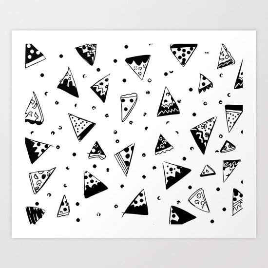 Hipster pizza seamless drawing Art Print
