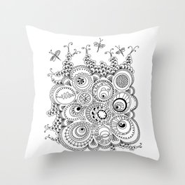 Dragonfly doodle Throw Pillow