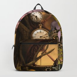 Beautiful steampunk girl, clocks and gears Backpack