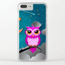 pink owl starry night Clear iPhone Case