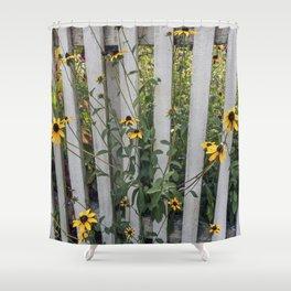 Fenced In Black Eyed Susans Shower Curtain