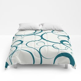 Tropical Dark Teal Funky Rings Pattern Inspired by Sherwin Williams 2020 Trending Color Oceanside SW6496 on Off White Comforters