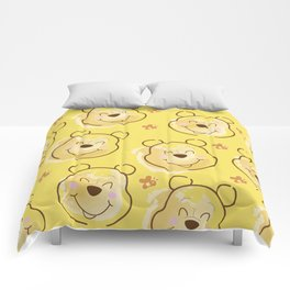 Inspired Pooh Bear surrounded with bees Pattern on Yellow background Comforters