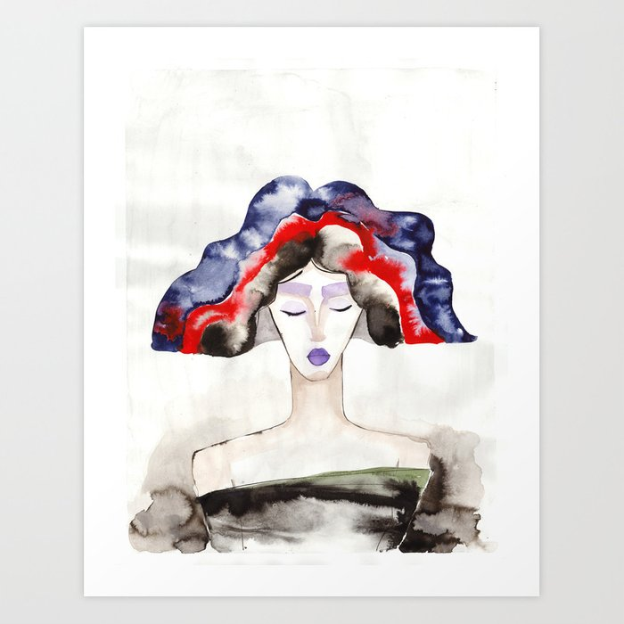 Margot With a Purple Lipstick Art Print