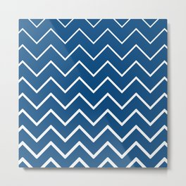 Classic Blue and White Zigzag Chevron Pattern Metal Print