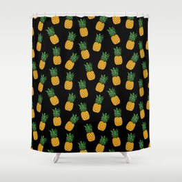 Pineapple Black Shower Curtain