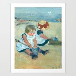 Mary Cassatt, Children Playing on the Beach Art Print