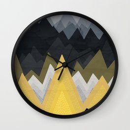 Gold in the mountains Wall Clock