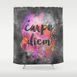 Carpe diem colorful watercolor handlettering Shower Curtain