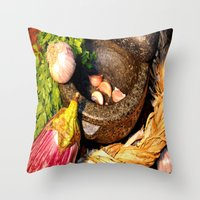 vegetables Throw Pillows featuring vegetables by  Agostino Lo Coco