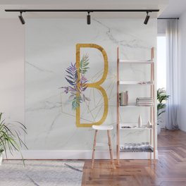 Modern glamorous personalized gold initial letter B, Custom initial name monogram gold alphabet prin Wall Mural