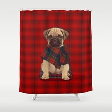 The Plaid Poncho'ed Pug Shower Curtain