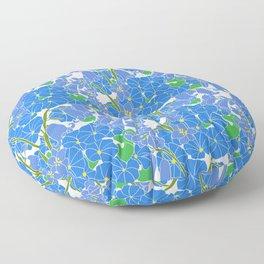 Morning Glory + Bluebells in White Floor Pillow