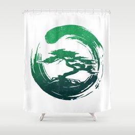 Green Bonsai in Enso Shower Curtain