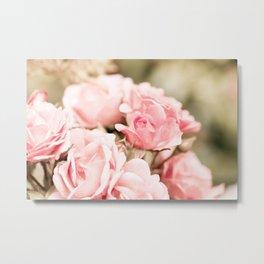Vintage roses bouquet sepia toned flowers Metal Print