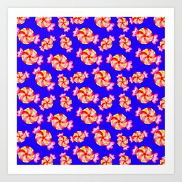 Cute lovely sweet festive decorative candy pattern on blue background. Candy store. Art Print