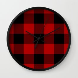 Red Buffalo Check Plaid Wall Clock