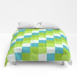Apples and Pears - Pixelated Pattern with blues and green  Comforters
