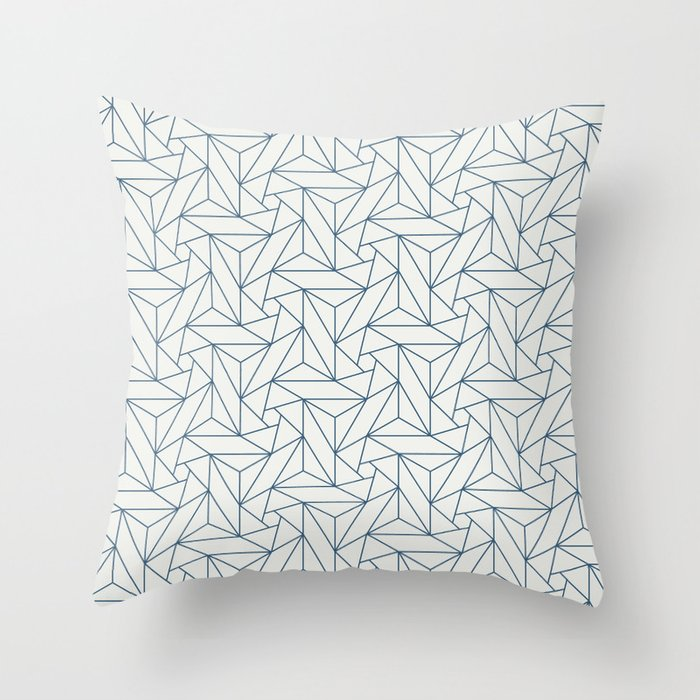 Blue & Off White Abstract Triangle Geometric Mosaic Pattern Pairs To 2020 Color of the Year Throw Pillow