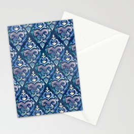Persian Floral pattern blue and silver Stationery Cards