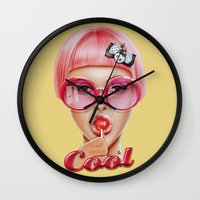 lips Wall Clocks featuring Cool Redux by Giulio Rossi