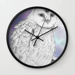 Owl with a third eye and crystal ball Wall Clock