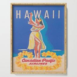 Hawaii Hula Girl Vintage Travel Poster Serving Tray