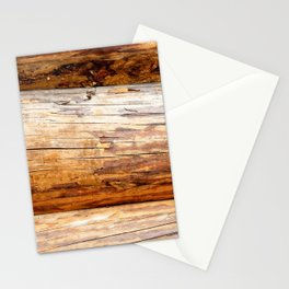 Wooden Log Wall Of A Vintage Cabin Stationery Cards