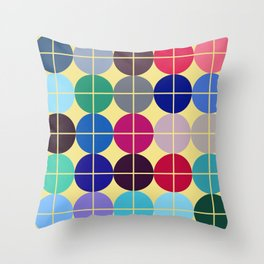 Multicolor Dots on Grid Throw Pillow