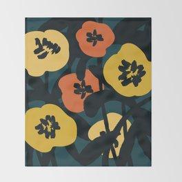 Midnight Flowers Throw Blanket
