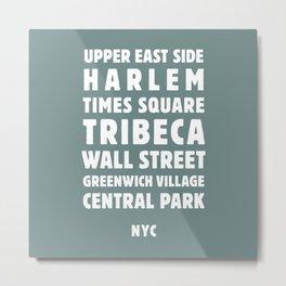 NYC Neighborhoods (Jade) Metal Print
